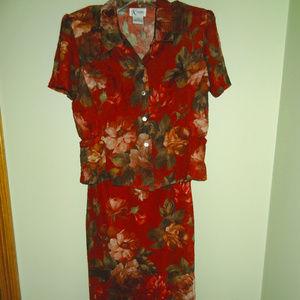 Vintage Floral Maxi-Length Dress and Jacket